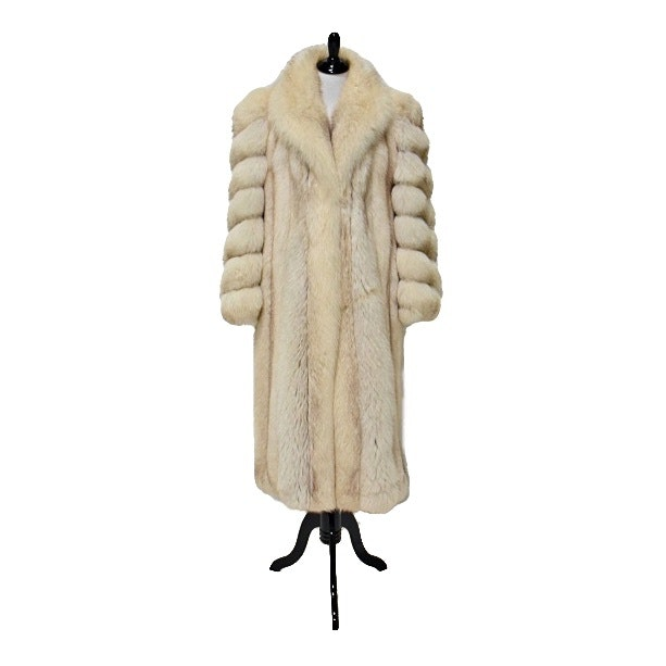 Full-Length Fox Fur Coat with Shawl Collar