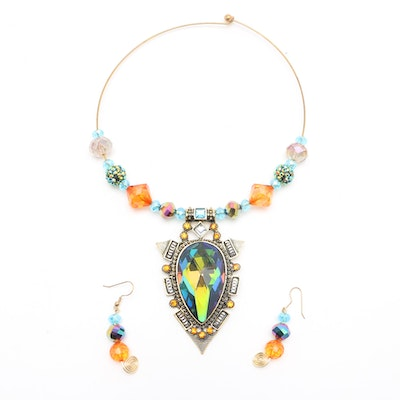 Colorful Beaded Choker Necklace and Coordinating Earrings
