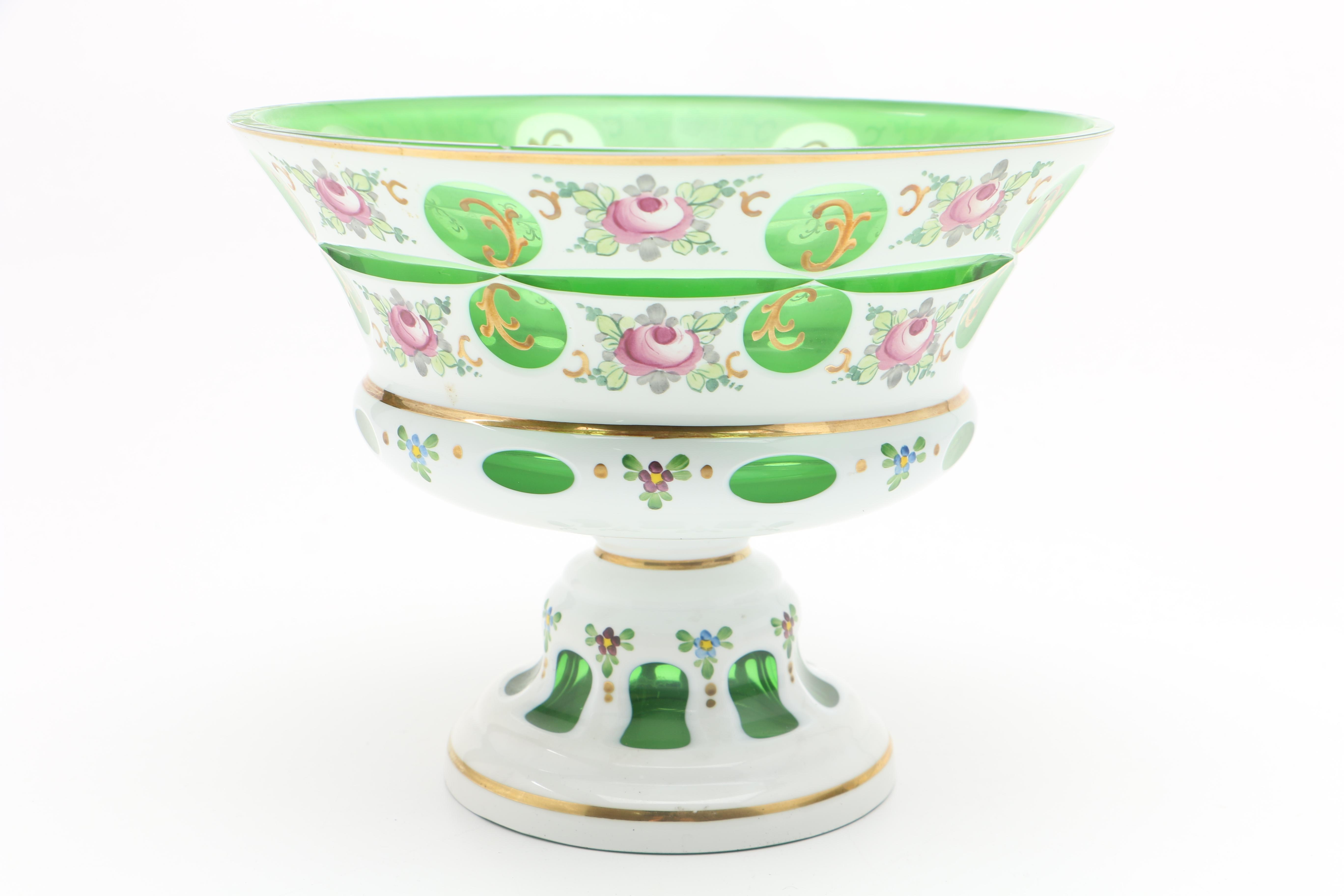 Bohemian Cased Glass Footed Bowl