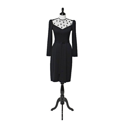 Vintage St. John Black Knit Dress with Sequin Detailing at the Neckline