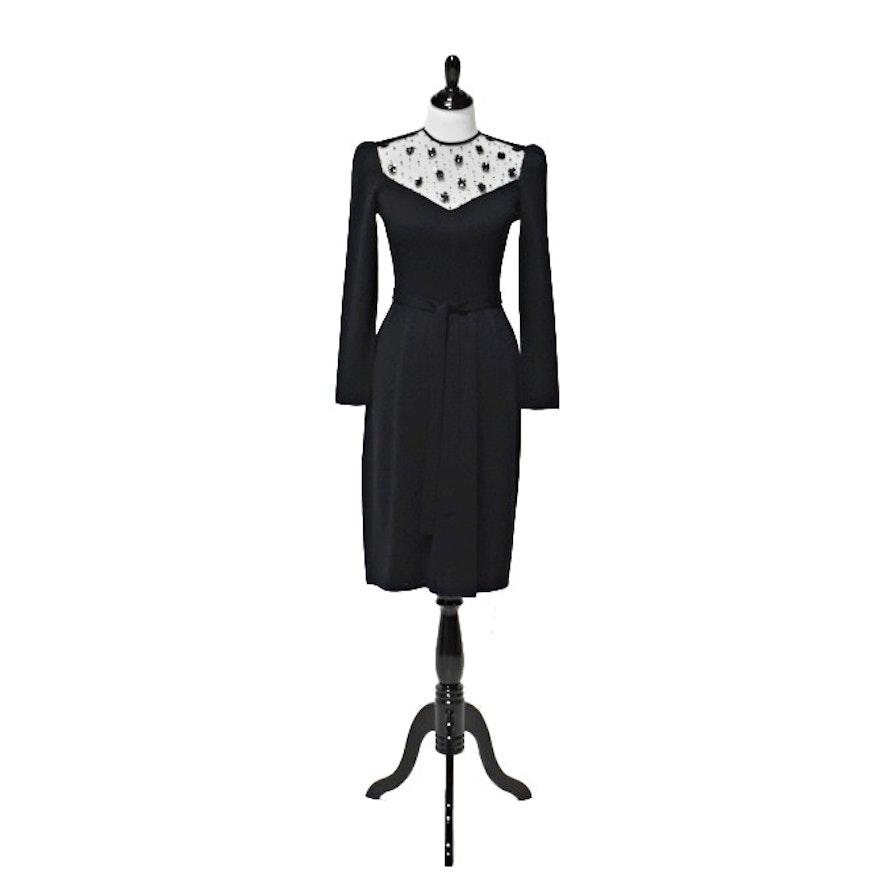 Vintage St. John Black Knit Dress with Sequin Detailing at the Neckline