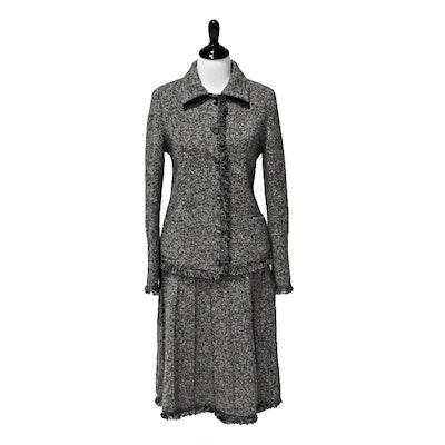 Oscar de la Renta Black and White Heathered Knit Jacket and Skirt