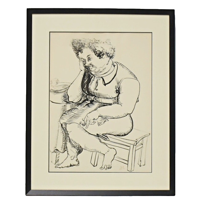 David Miretsky Ink Painting on Paper Abstract Figure