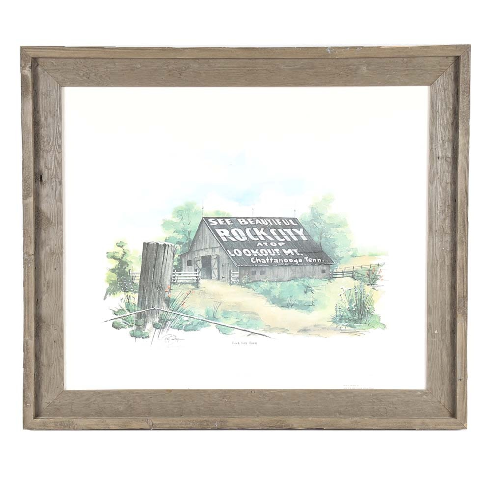 """Ray Day Limited Edition Offset Lithograph """"Rock City Barn"""""""