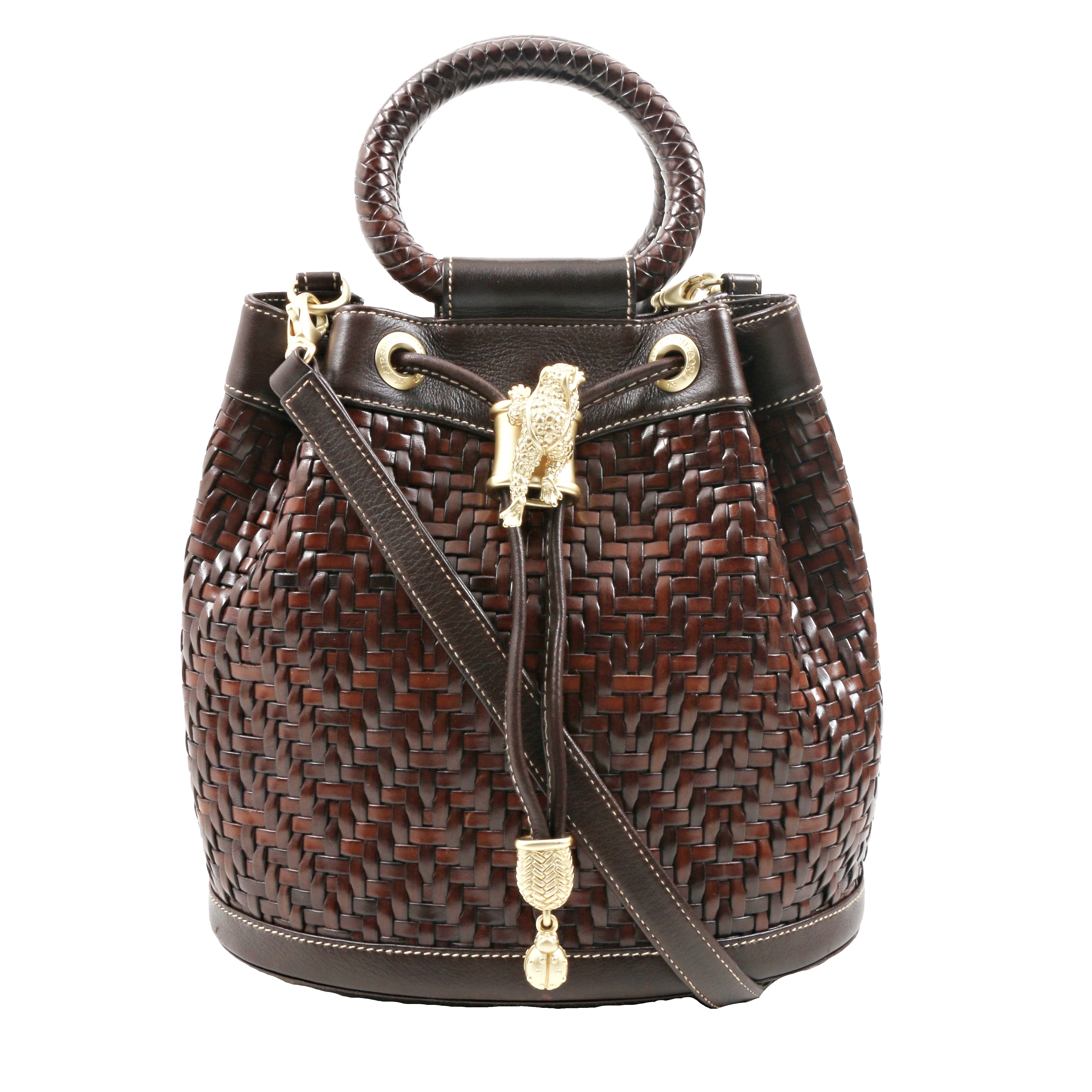 Barry Kieselstein-Cord Brown Woven Leather Drawstring Bucket Handbag with Lizard