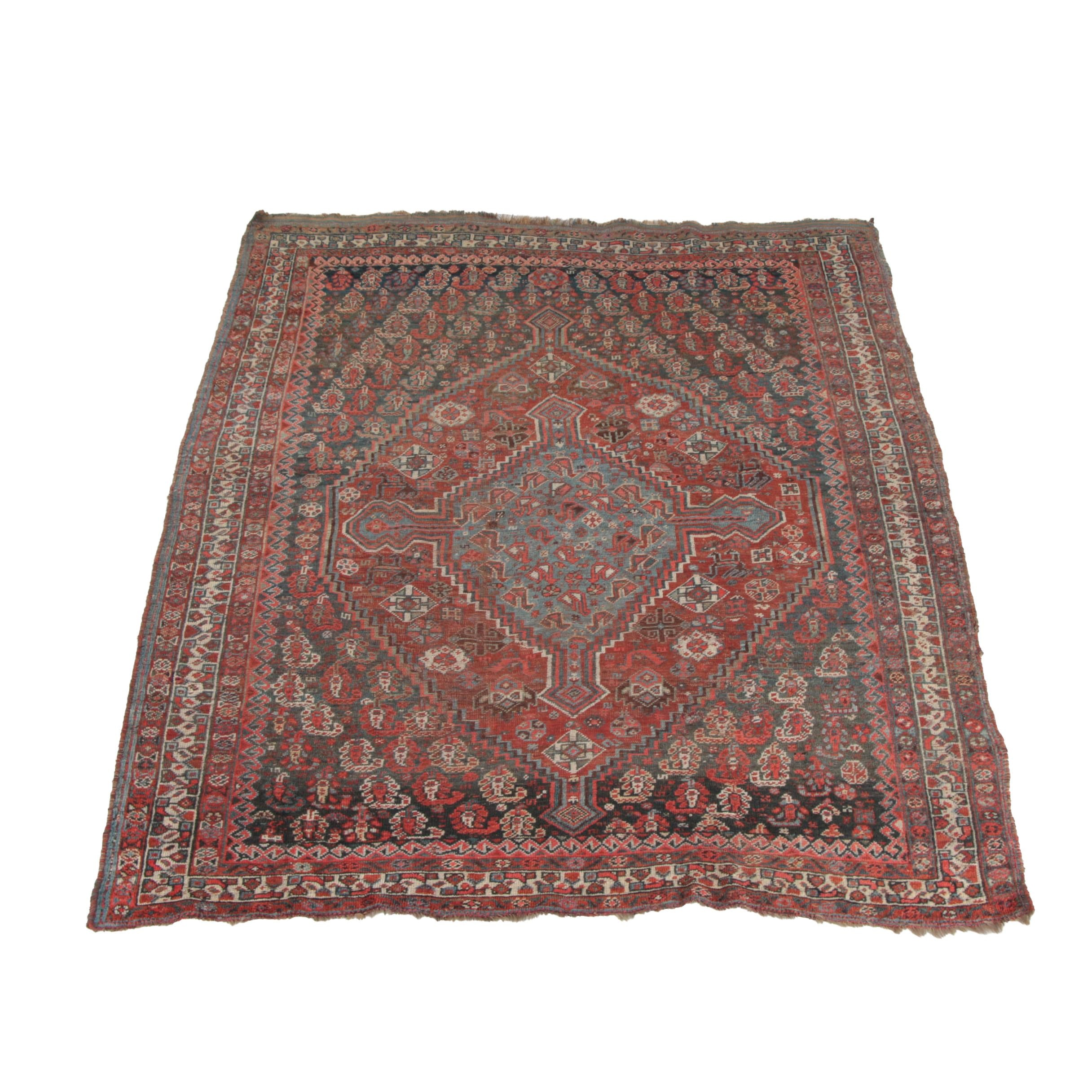 Antique Hand-Knotted Persian Khamseh Area Rug