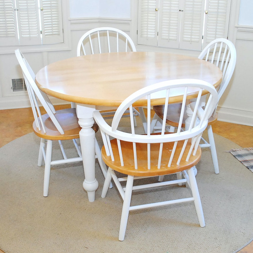 Farmhouse style kitchen table and chairs ebth for Farm style kitchen table