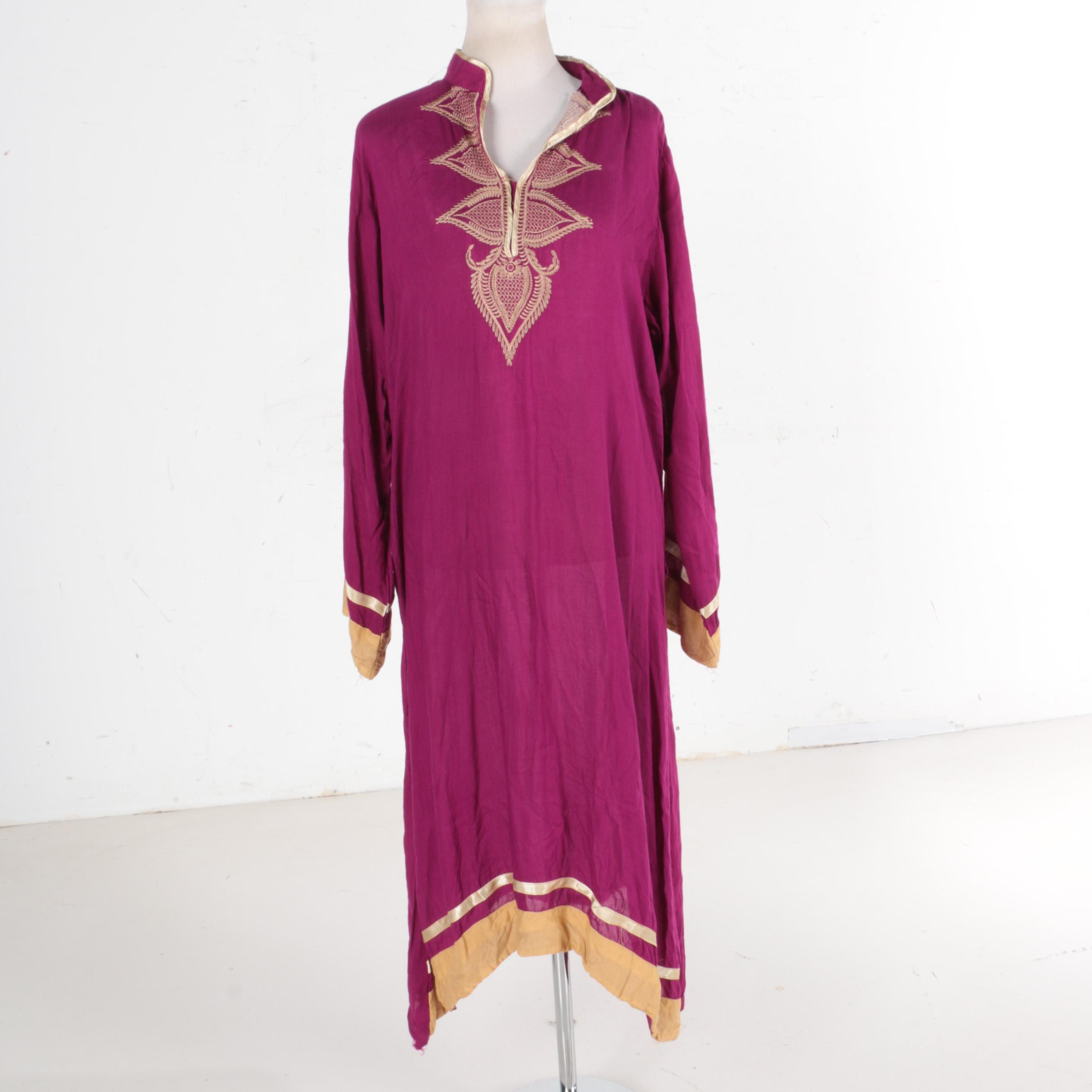Asian Inspired Magenta Cotton Dress