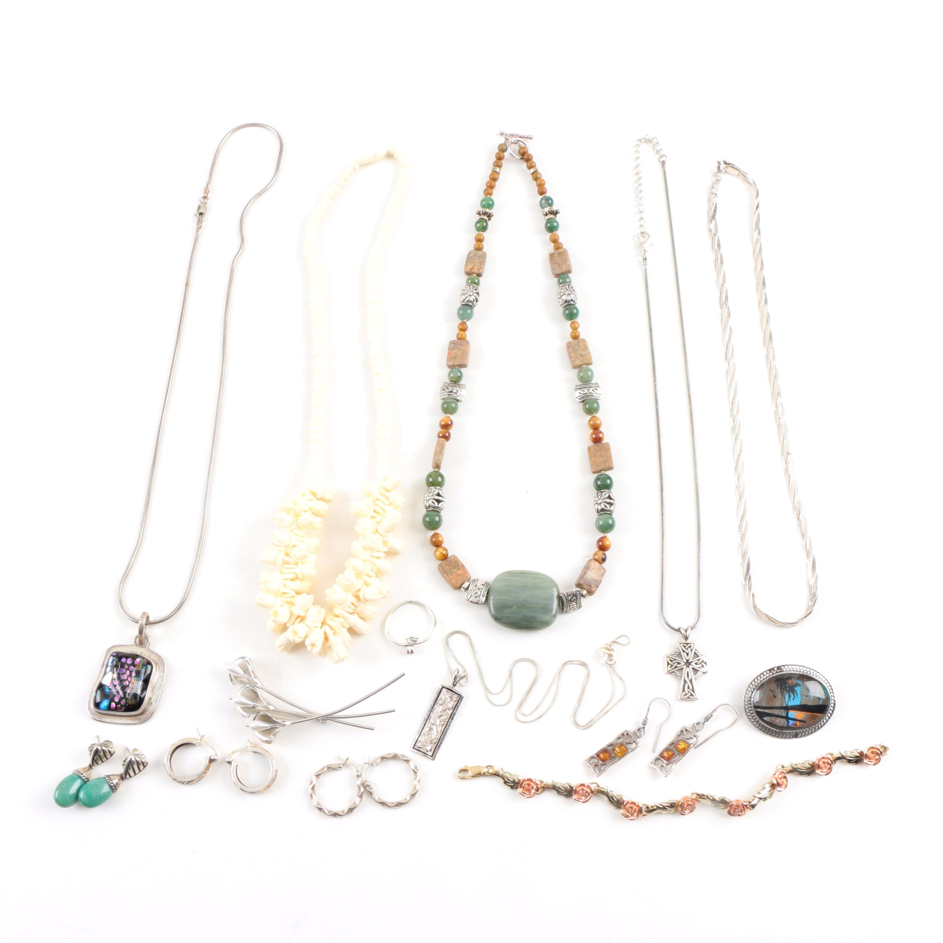 Sterling Silver Jewelry With Blue Morpho, Bone, Beau, Gemstones, and More