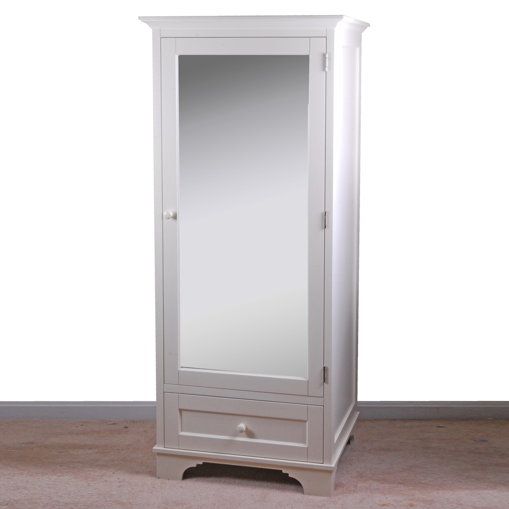 Charmant White Narrow Wardrobe Cabinet With Mirror ...