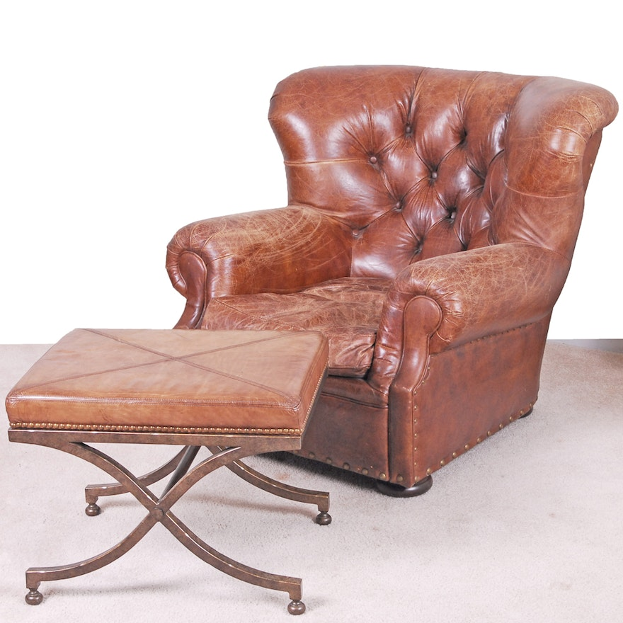 Restoration Hardware Leather Armchair And Stool Ebth