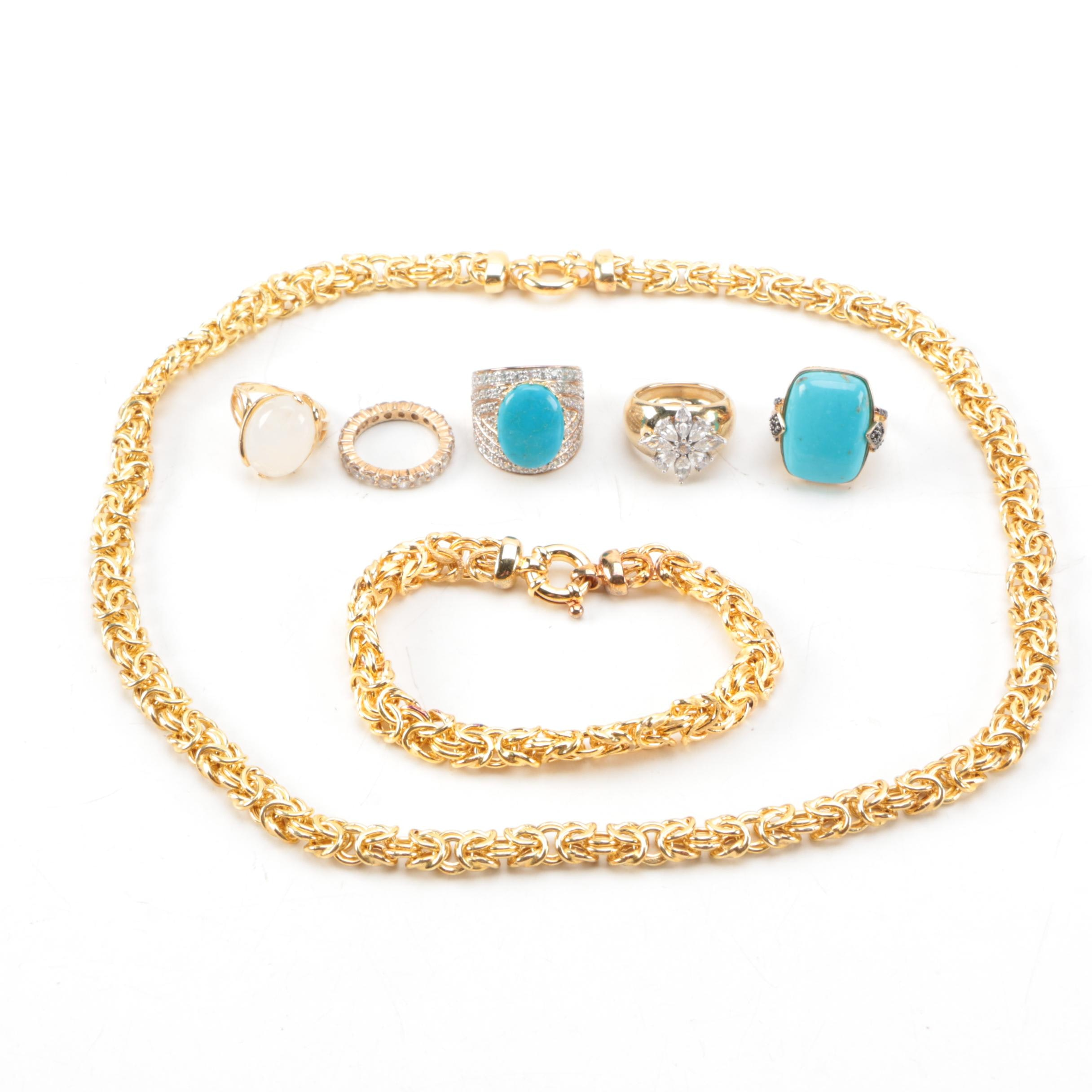 Gold Wash Sterling Silver Gemstone Jewelry Assortment