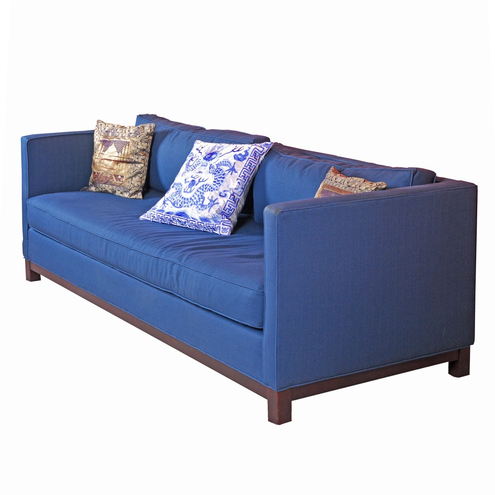 blue sofa by mitchell gold   bob williams vintage sofas antique settees retro loveseats and antique      rh   ebth