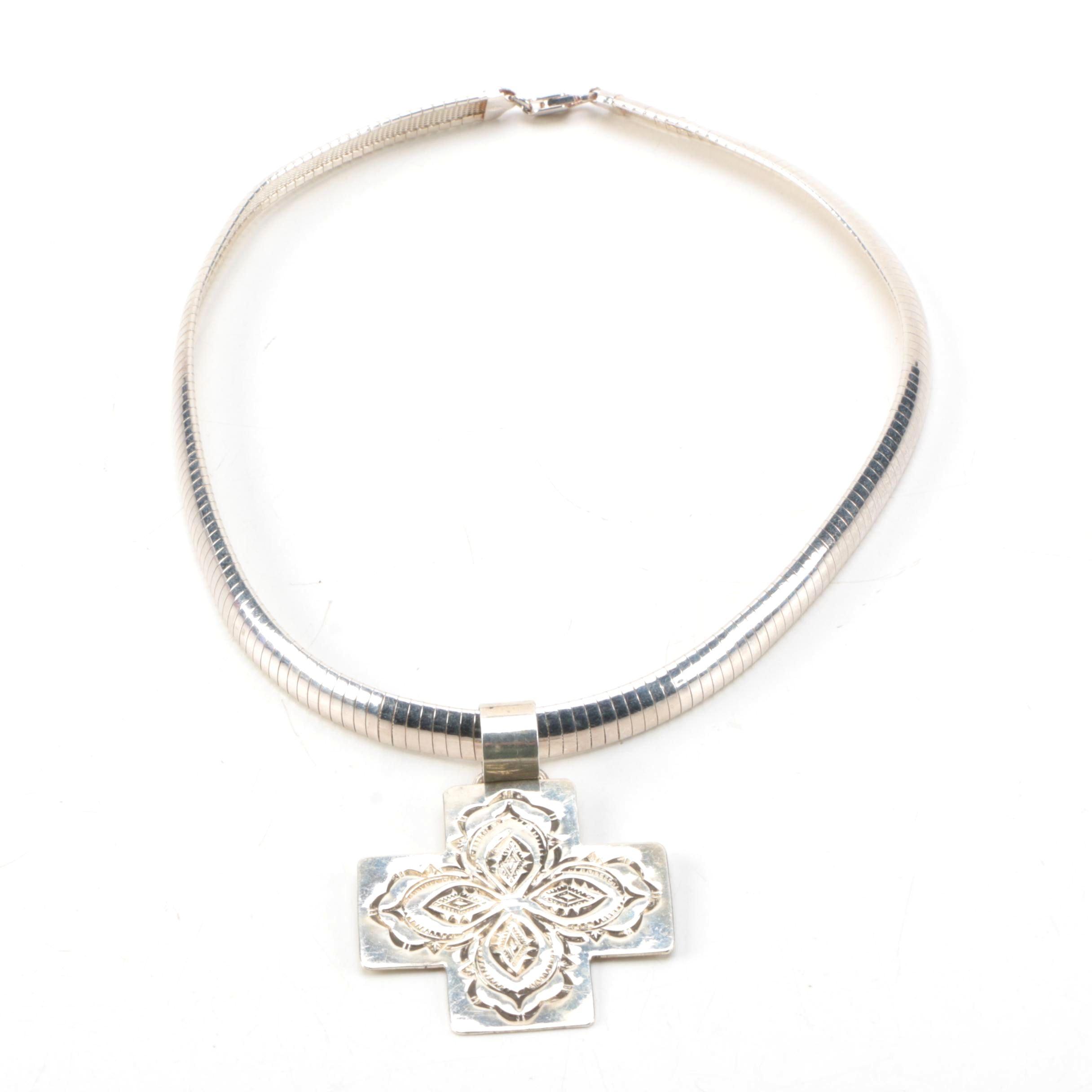 Alvin Toadachaane Navajo Sterling Silver Cross Pendant Necklace