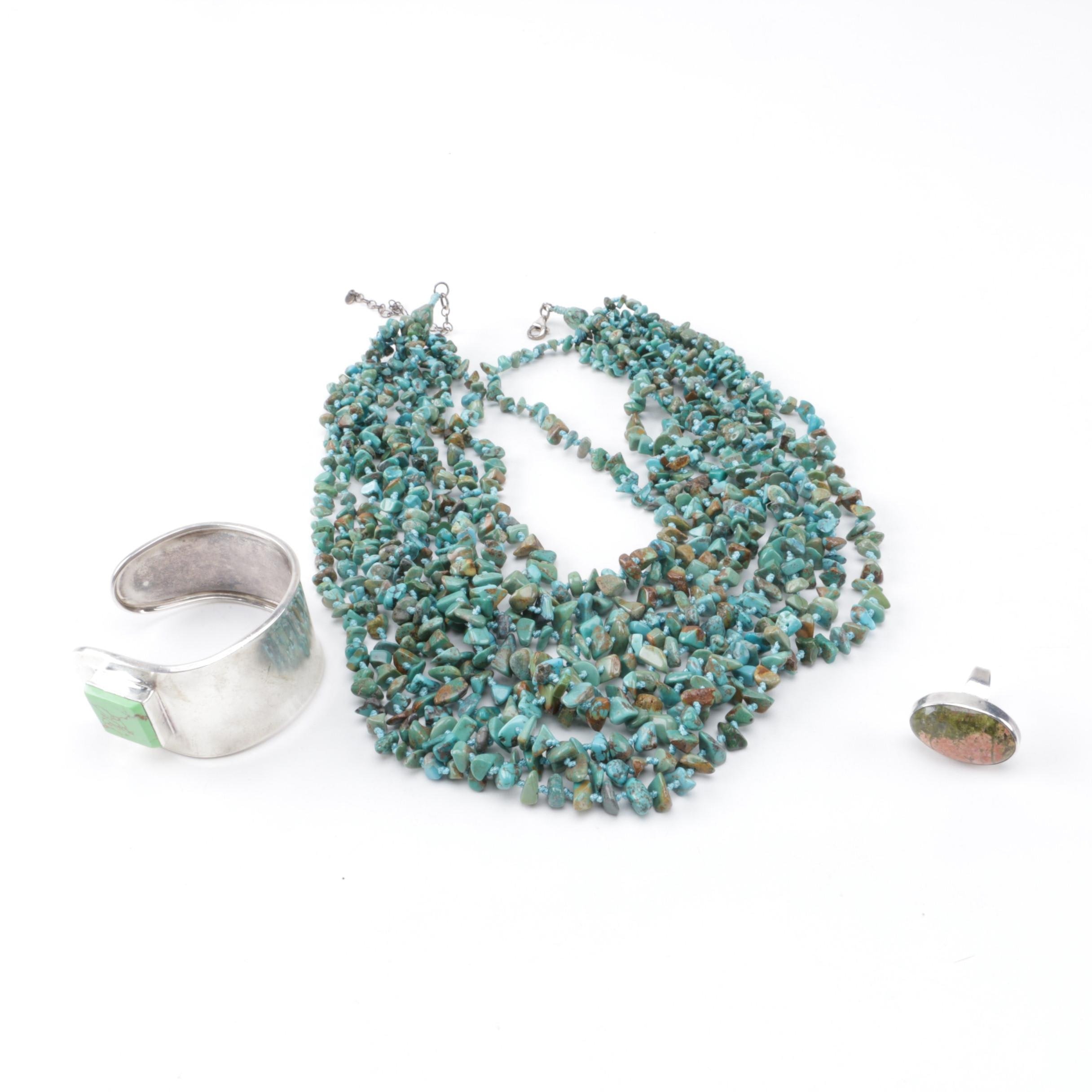 Selection of Sterling Silver Turquoise and Unakite Jewelry