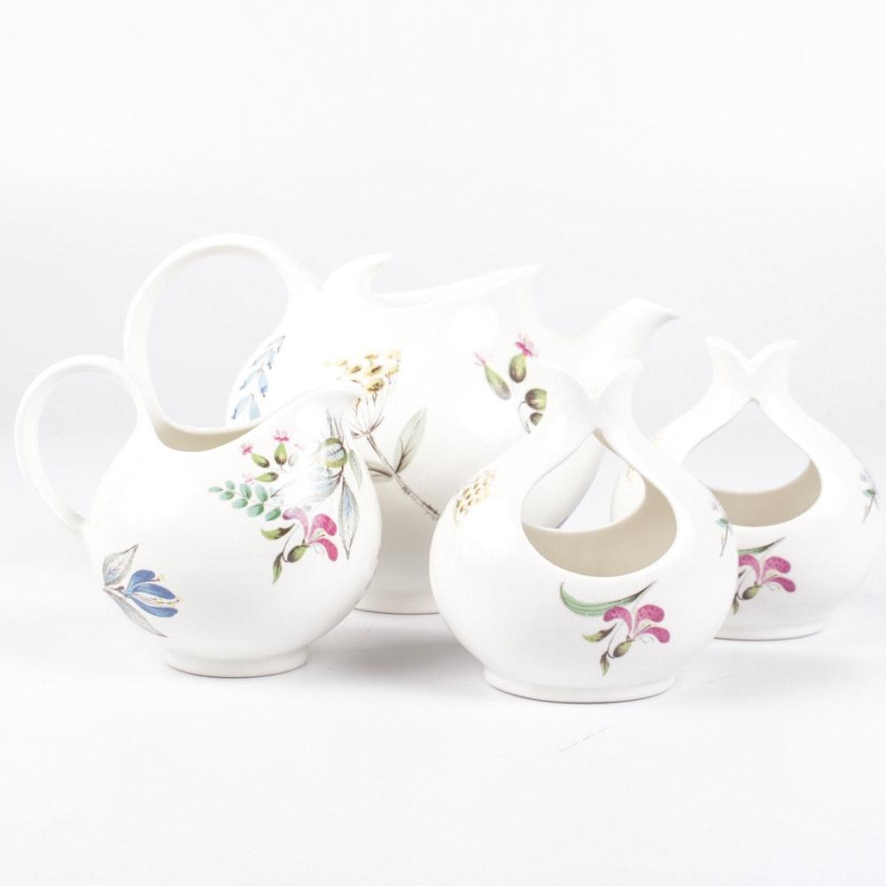 """Hallcraft """"Bouquet"""" Teapot, Creamer and Candlesticks"""