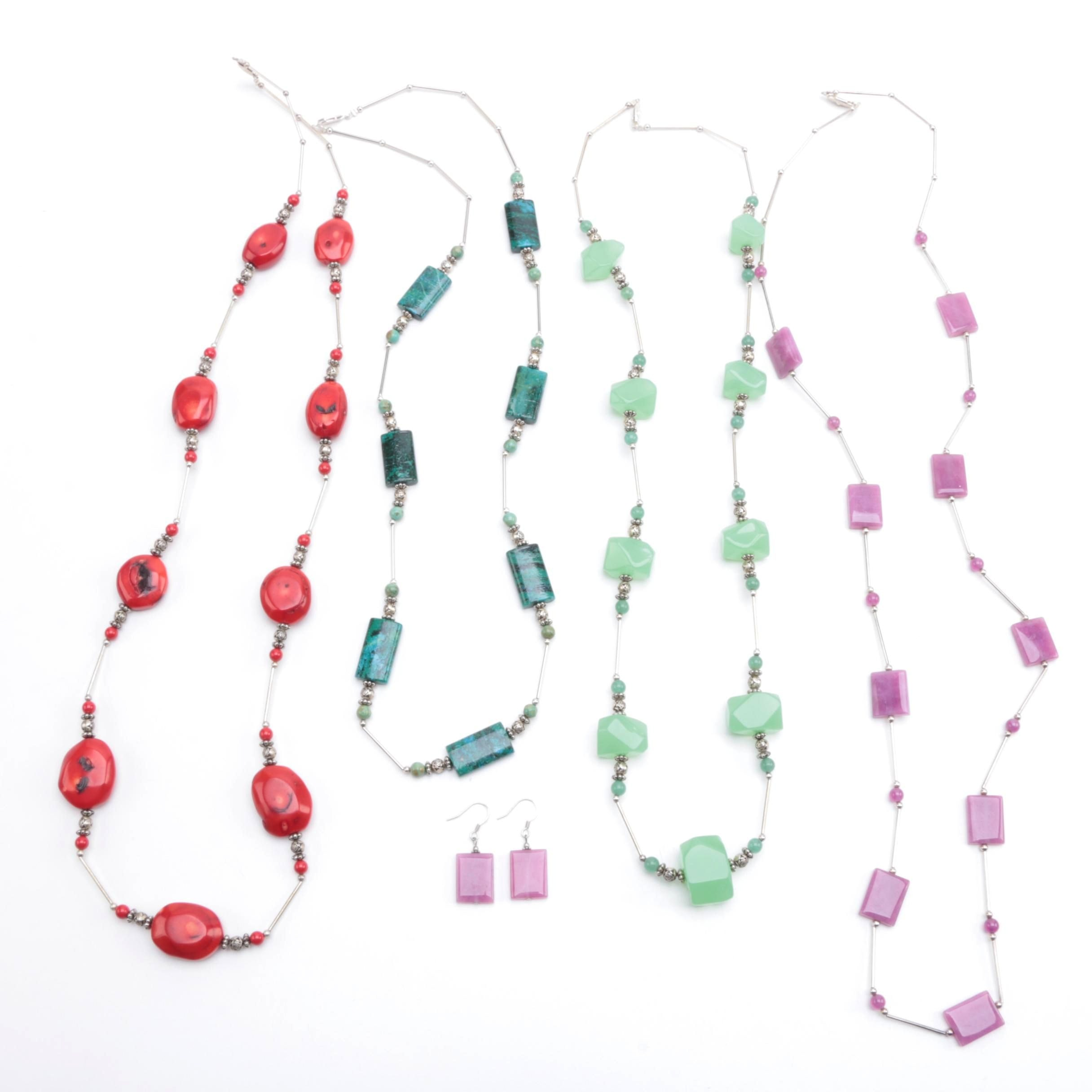 Assortment of Stone Necklaces Featuring Dyed Coral, Turquoise and Aventurine