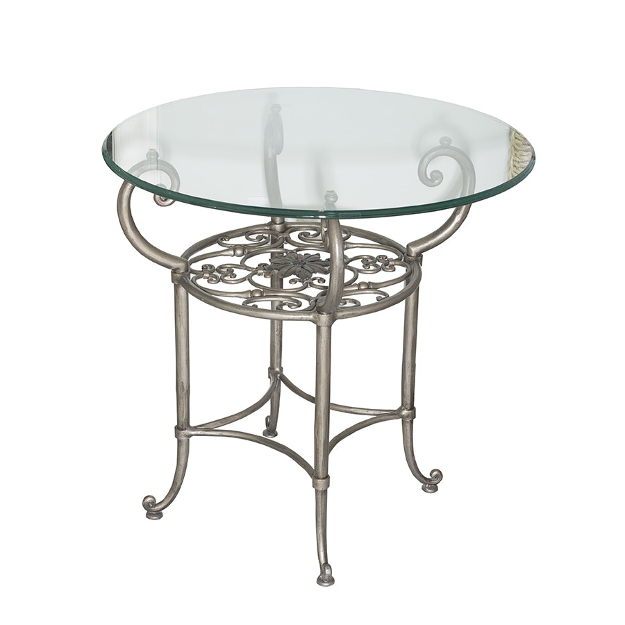 Round Glass And Scrolled Metal End Table ...