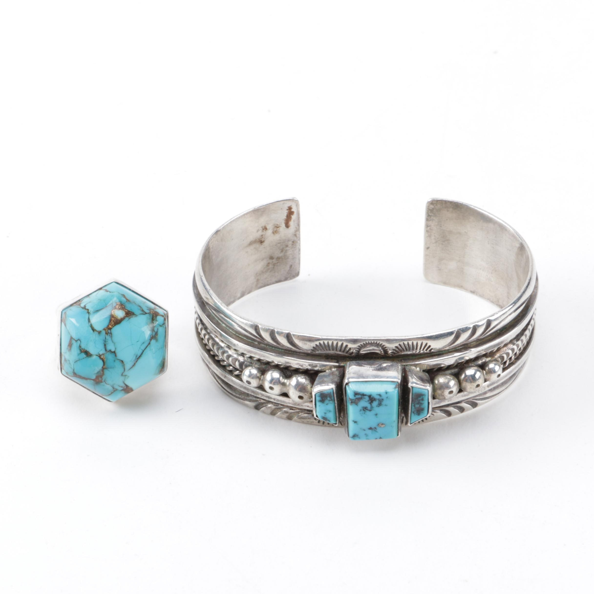 Sterling Silver Turquoise Ring and Cuff Bracelet