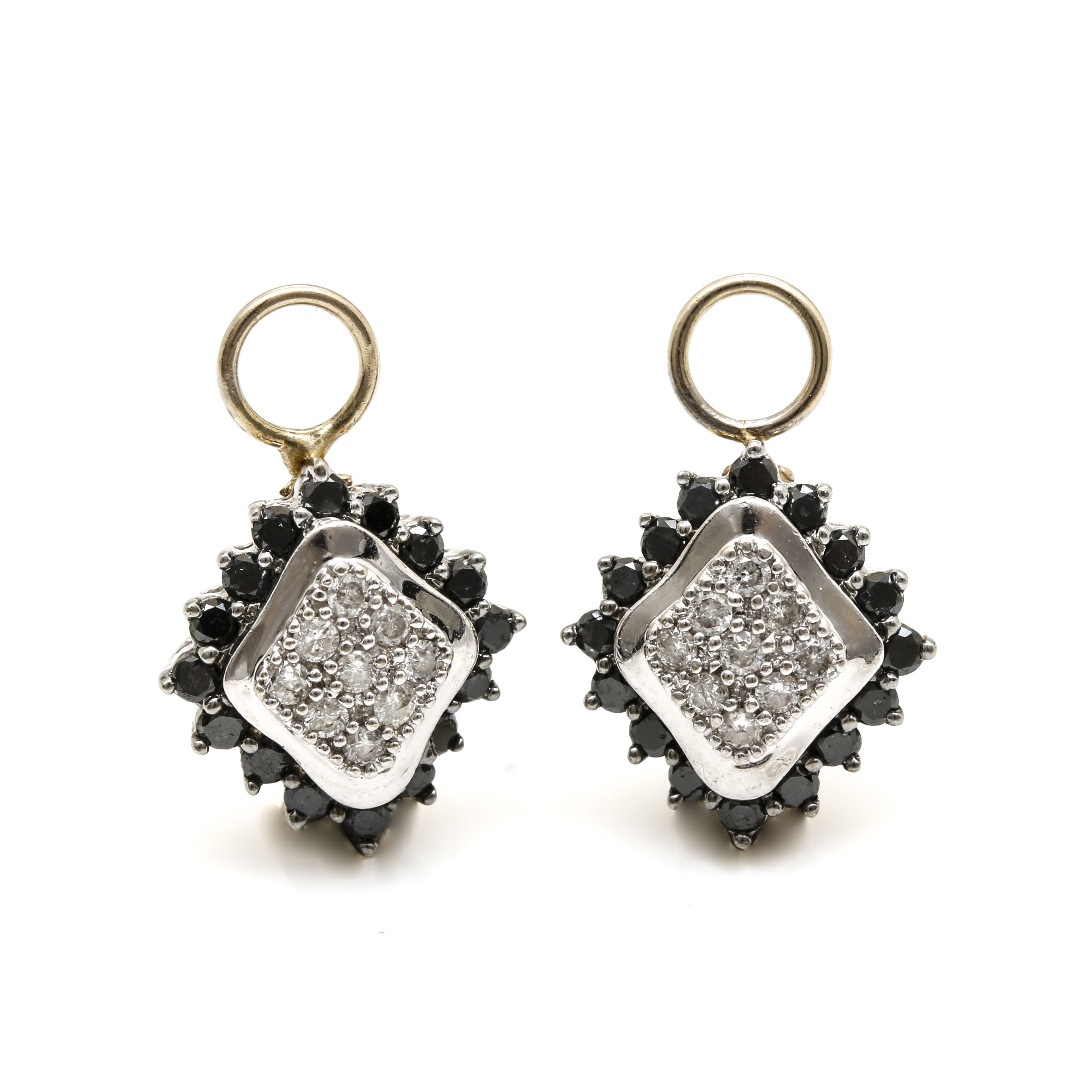 14K White Gold White and Black Diamond Earring Jackets With Yellow Gold Accents
