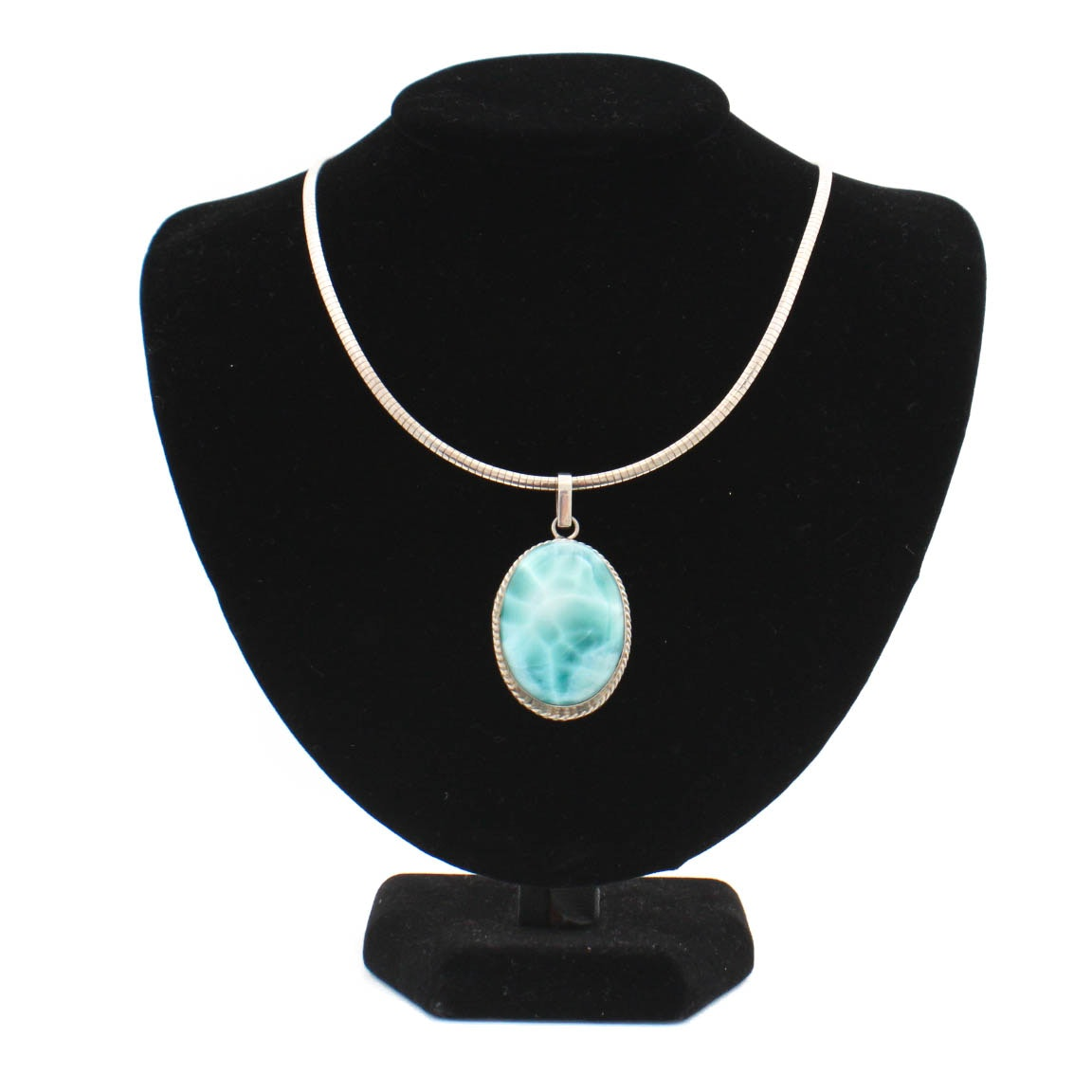 Sterling Silver Herringbone Necklace With Larimar Pendant