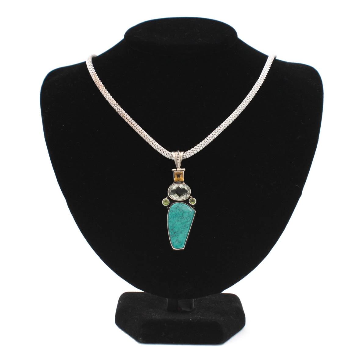 Sterling Silver Snake Chain With Natural Gemstone Pendant