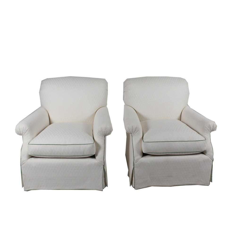 Country Chic Upholstered Armchair Pair