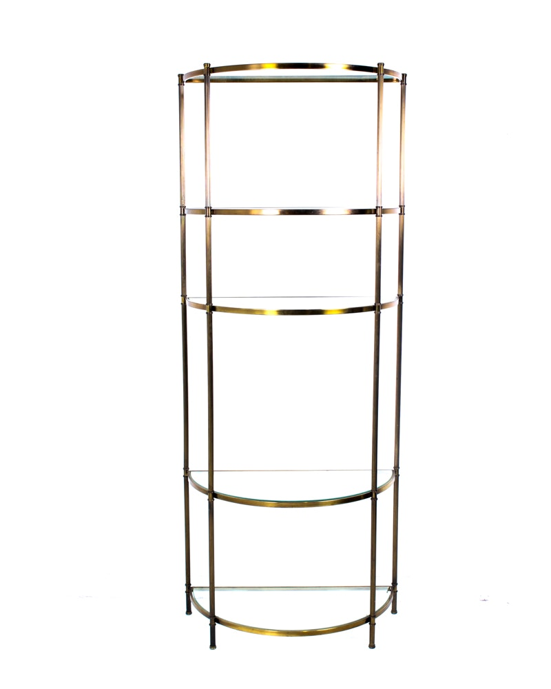 Vintage Brass and Glass Etagere