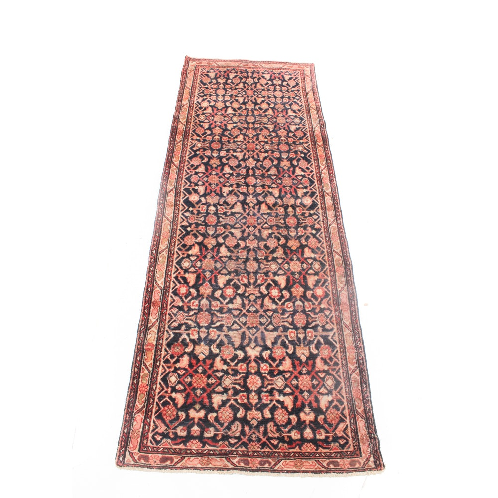 Vintage Hand-Knotted Persian Malayer Rug Runner