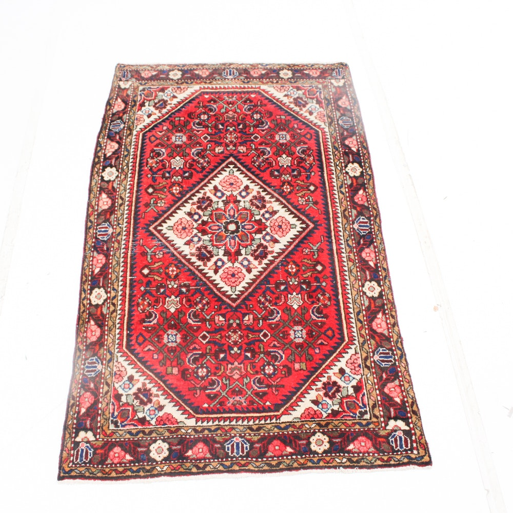 Semi-Antique Hand Knotted Persian Malayer Sarouk Area Rug