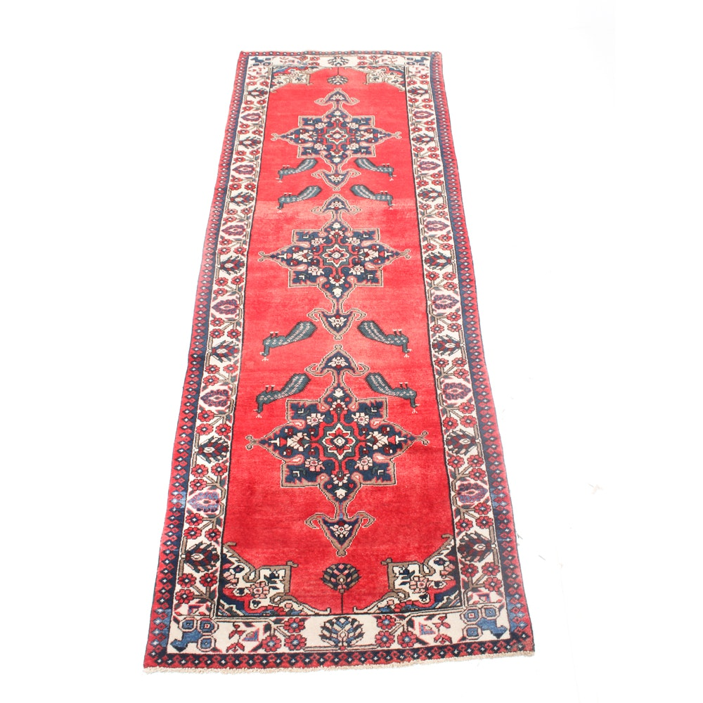 Semi-Antique Hand-Knotted Persian Karaja Heriz Rug Runner