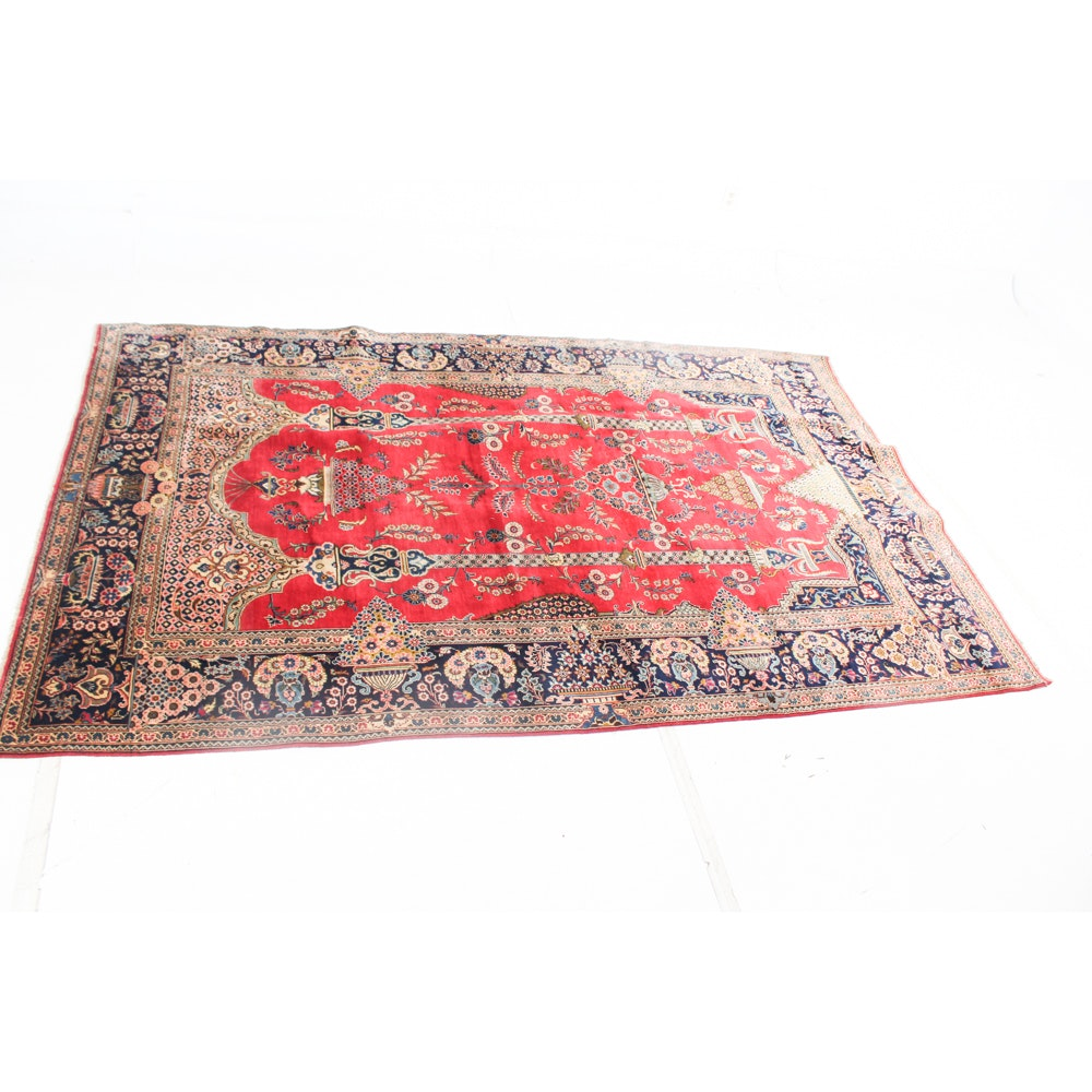 Hand-Knotted Qom Style Pictorial Area Rug