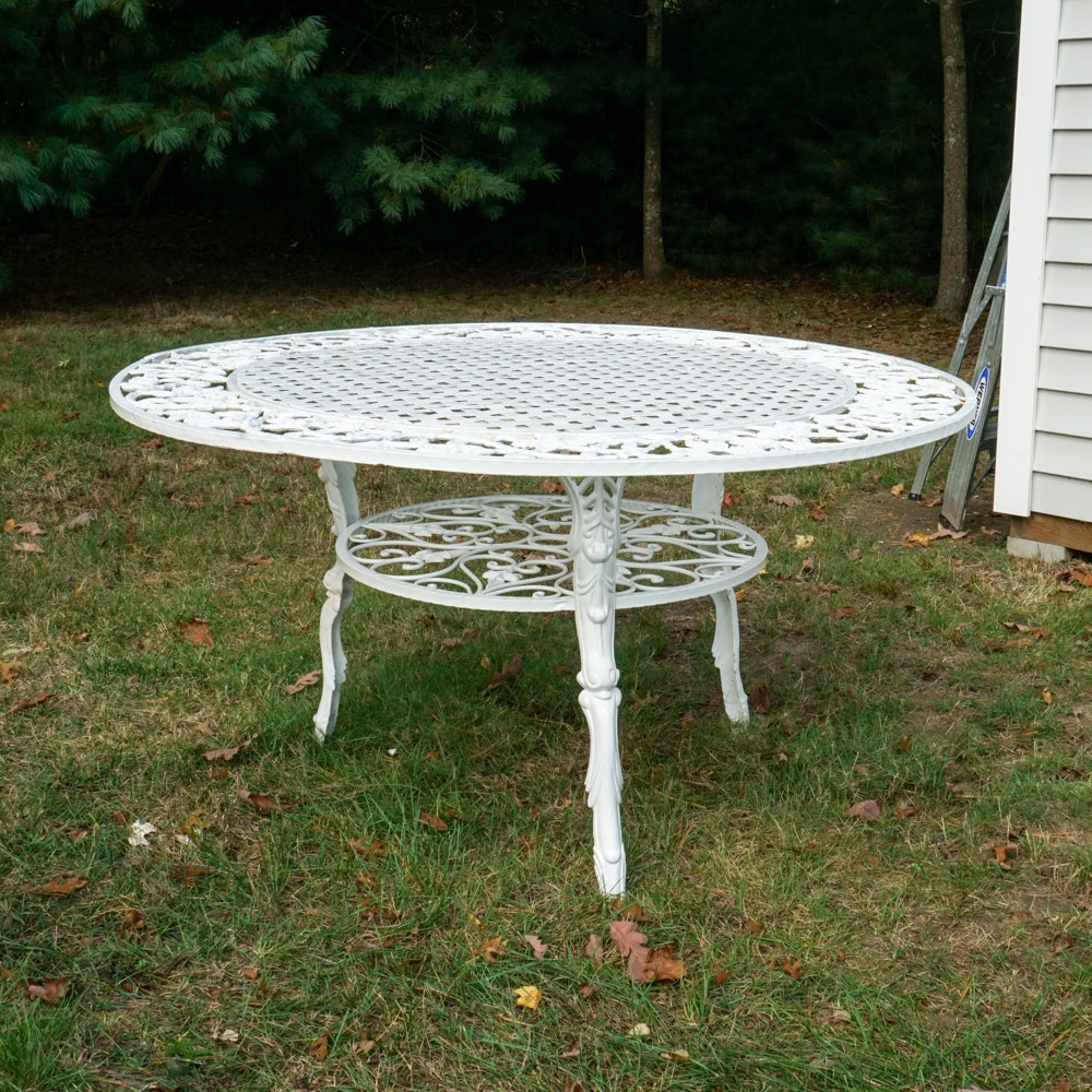 White Two-Tier Round Wrought Iron Patio Table with Floral Border