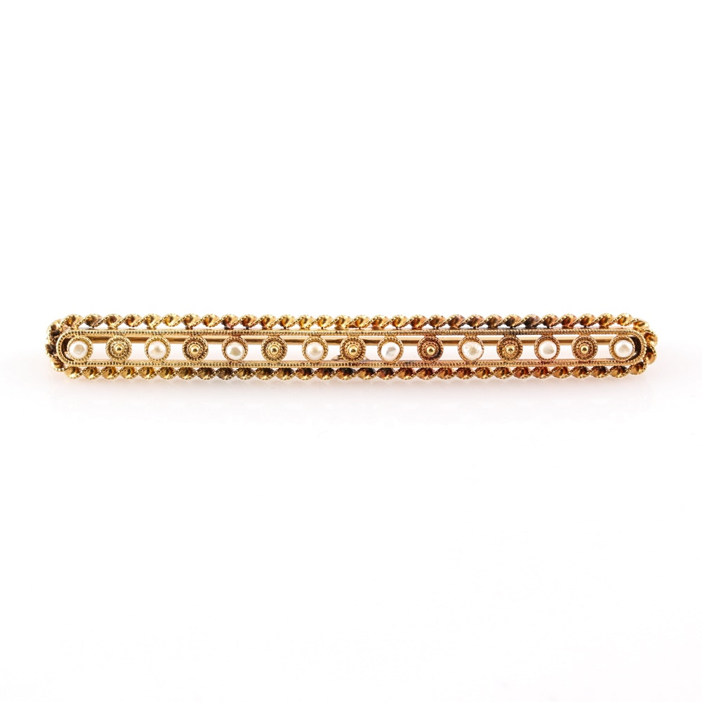 14K Yellow Gold Seed Pearl Brooch
