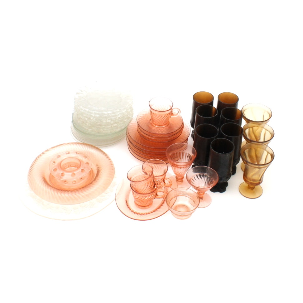 Vintage Pink Depression Glass and Etched Glassware