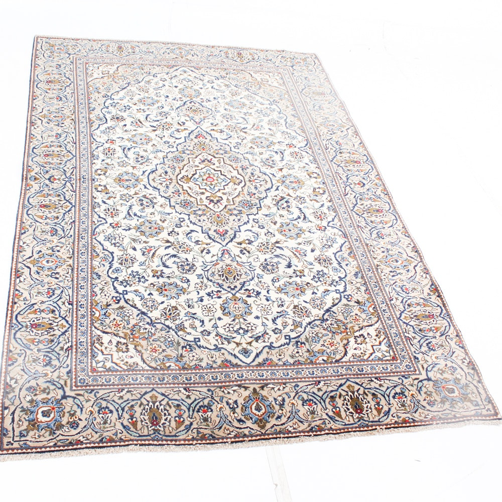 Semi-Antique Hand Knotted Persian Kashan Area Rug
