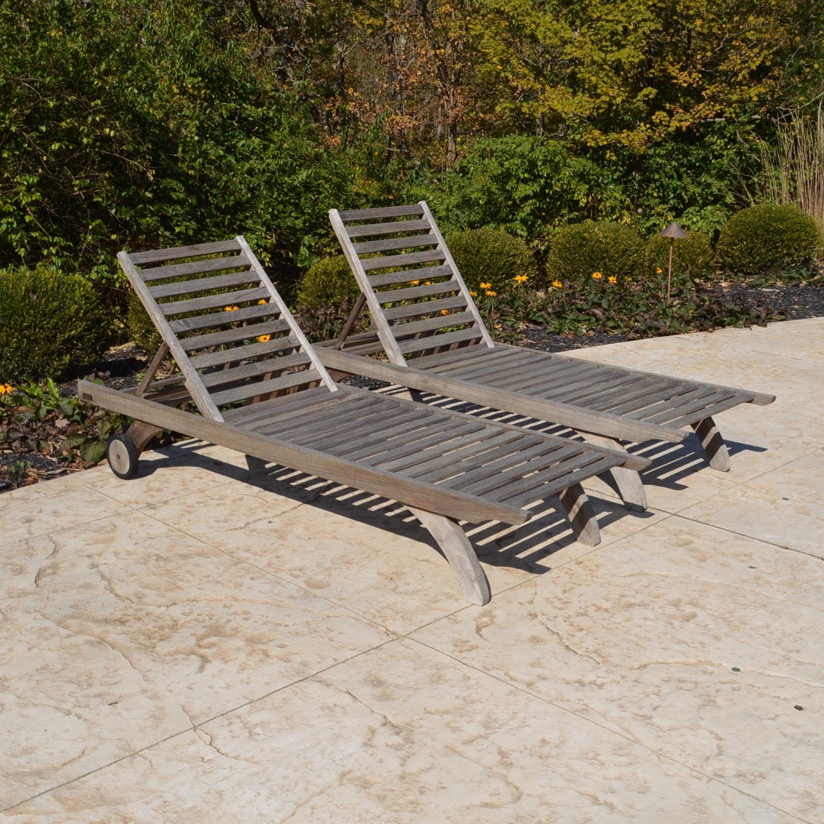 Pair Of Barlow Tyrie Teak Wood Lounge Chairs ...