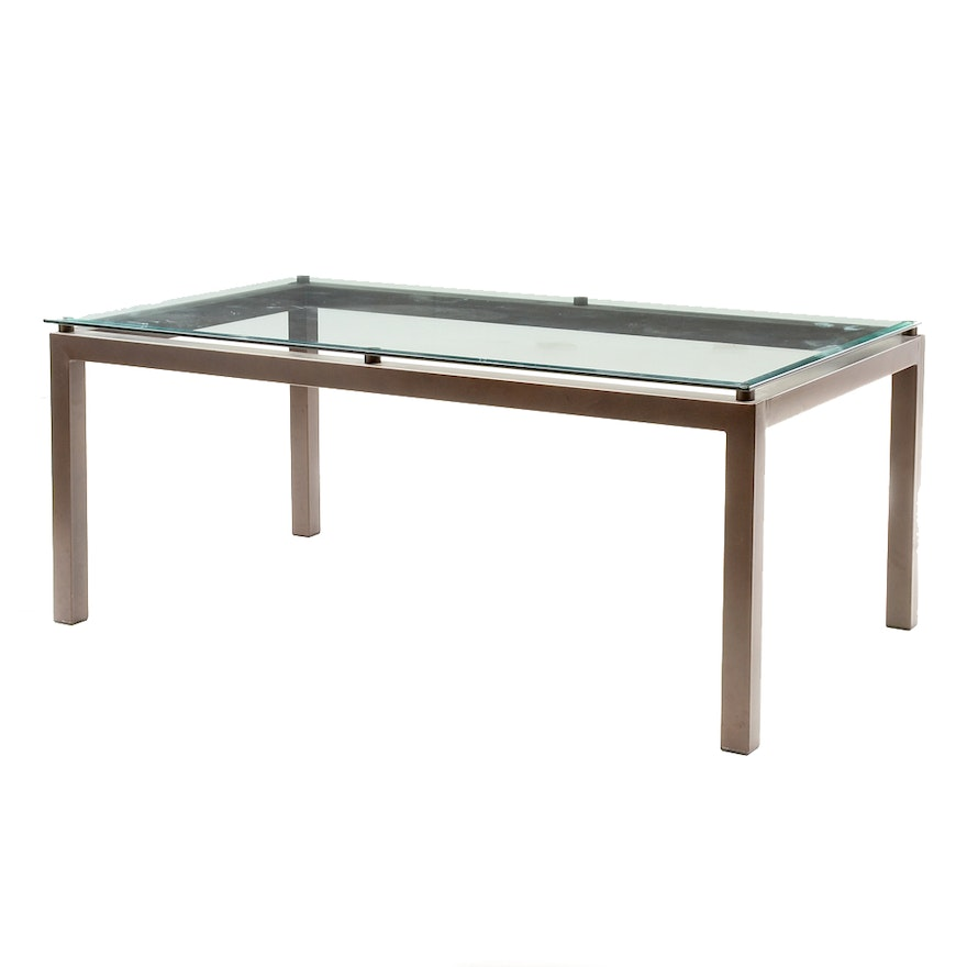 Contemporary glass top dining table ebth for Contemporary glass top dining table