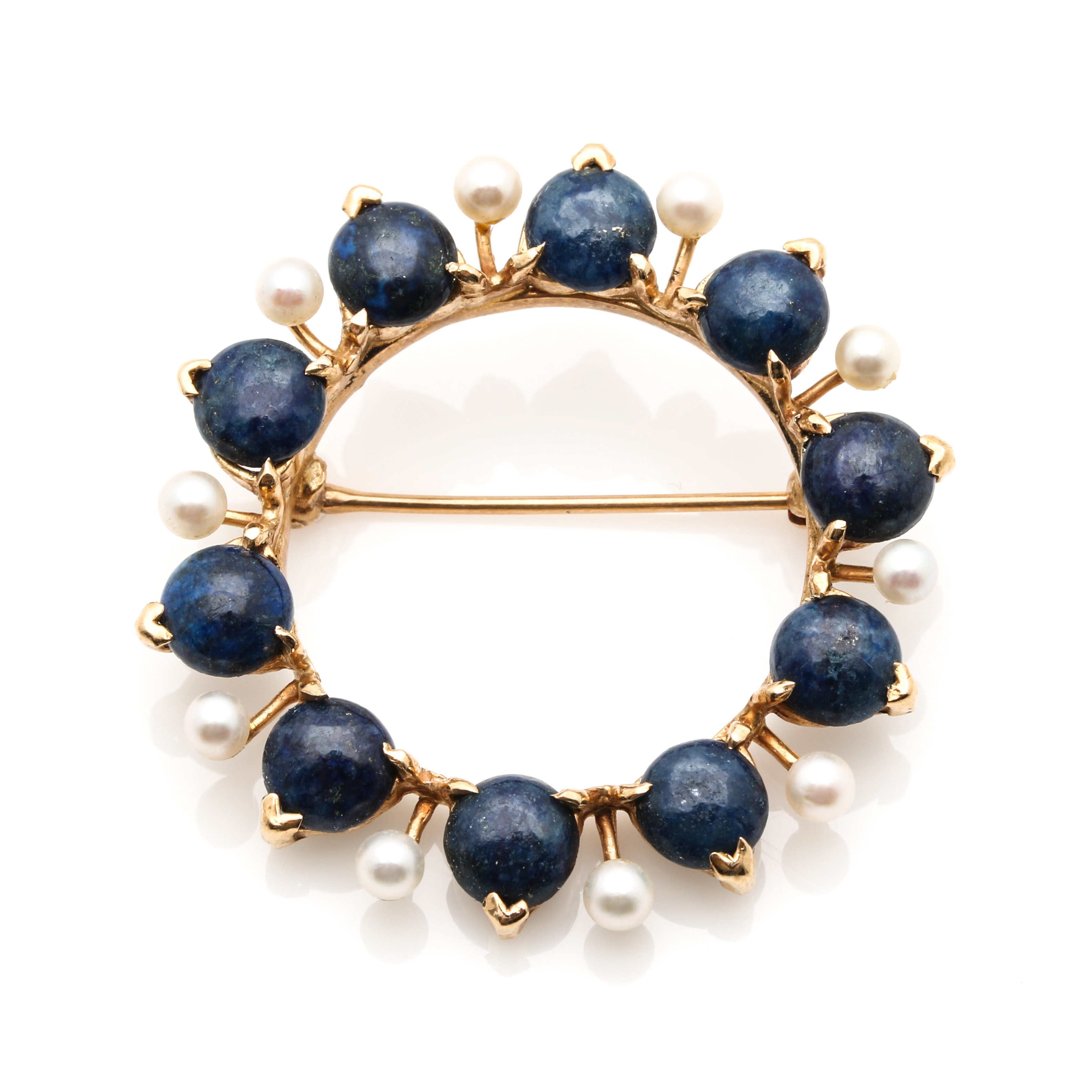 14K Yellow Gold Lapis Lazuli and Cultured Pearl Circle Brooch