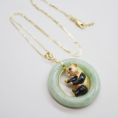 14K Yellow Gold Jadeite and Sapphire Panda Pendant Necklace