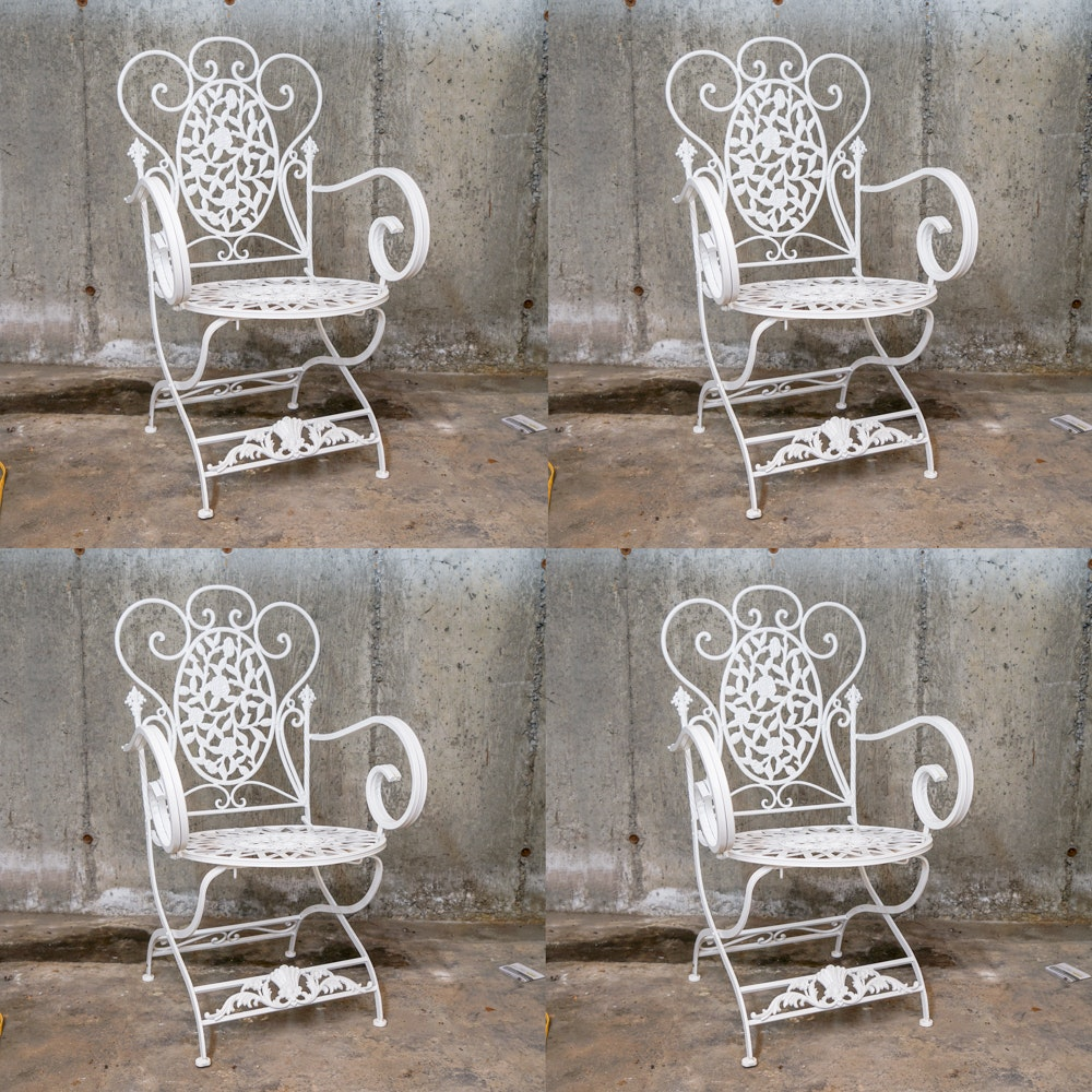 White Painted Wrought Iron Patio Chairs
