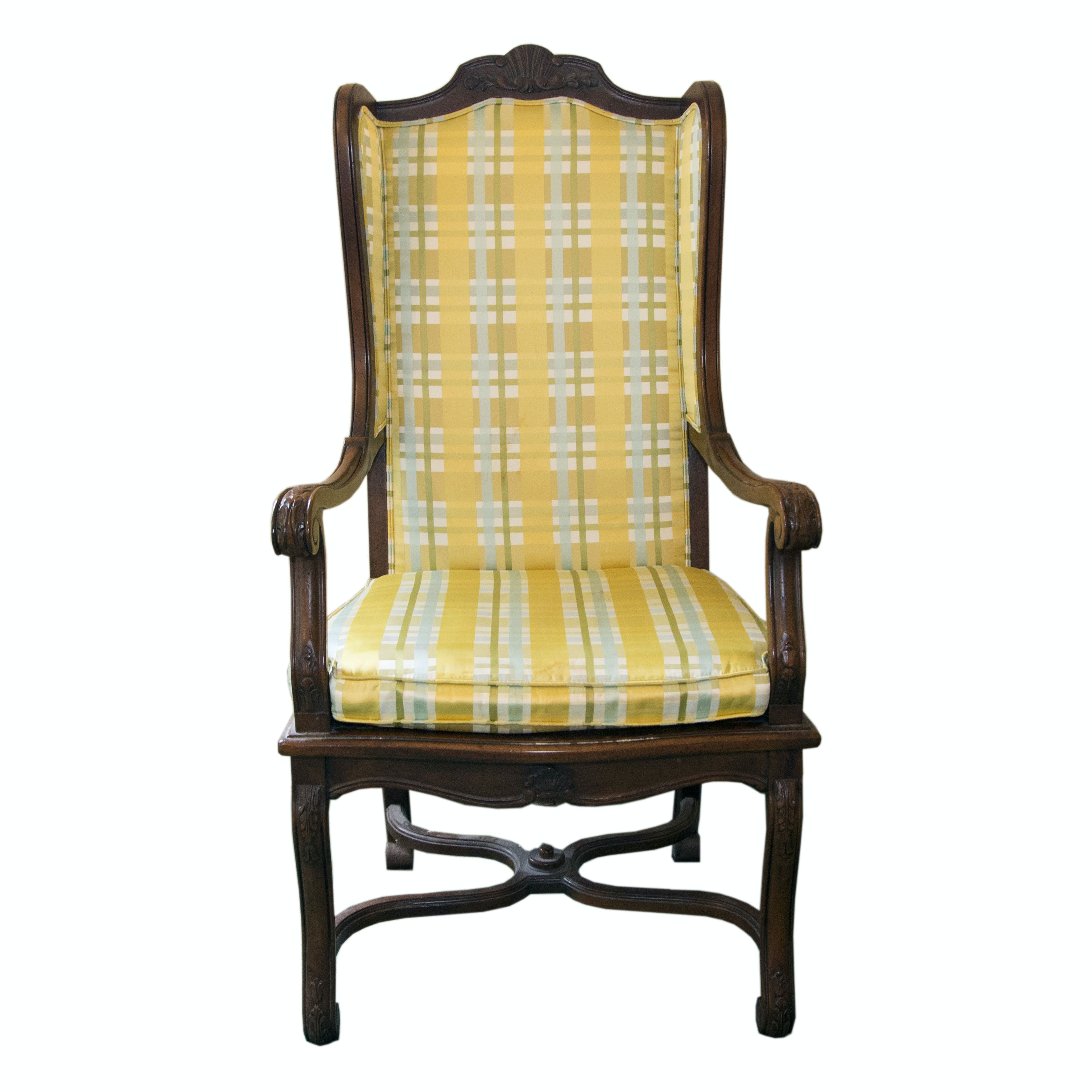 Louis XIV Style Upholstered Cane Chair ...