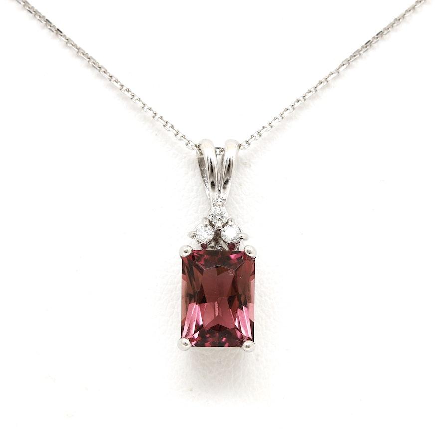 14k white gold diamond and pink tourmaline pendant. Black Bedroom Furniture Sets. Home Design Ideas
