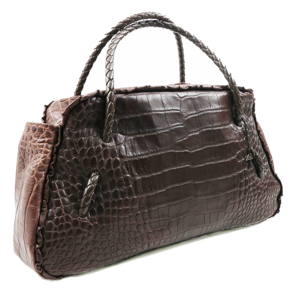 """Furla"" Crocodile Embossed Brown Leather Satchel Handbag with Braided Handles"
