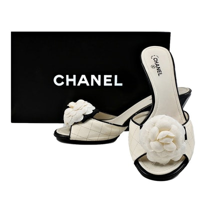 """Chanel"" Blanc et Noir Quilted Mules with Rosettes"