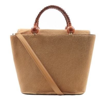 """Escada"" Pony Hair Handbag with Brown Leather Braided Handles"