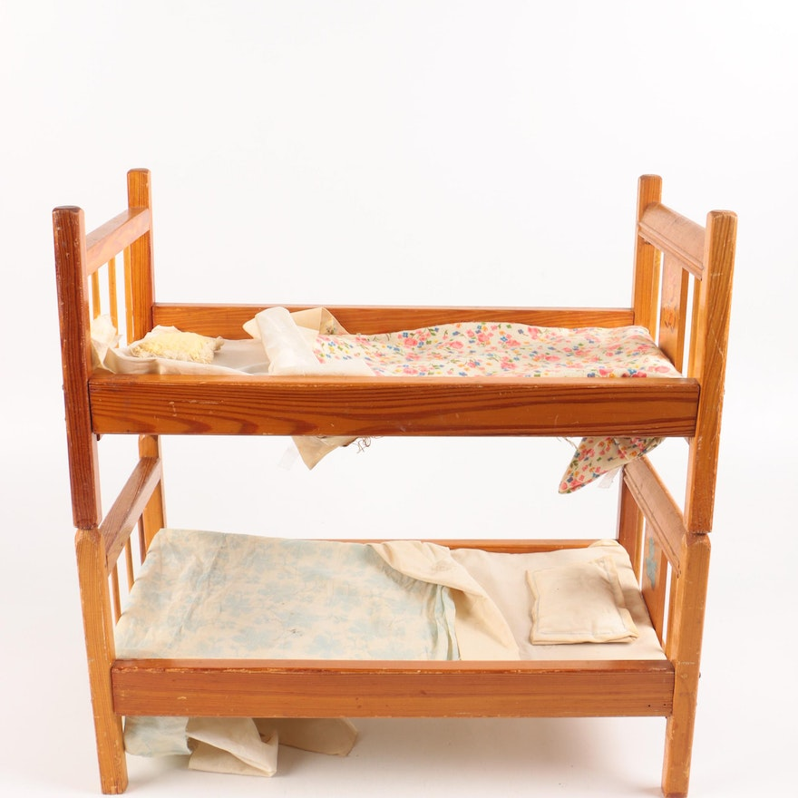Vintage Wooden Doll Bunk Beds With Linens Ebth
