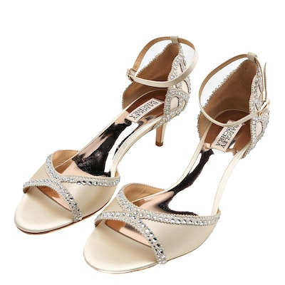 Badgley Mischka Ivory Satin Kitten Heels with Rhinestone Embellishment