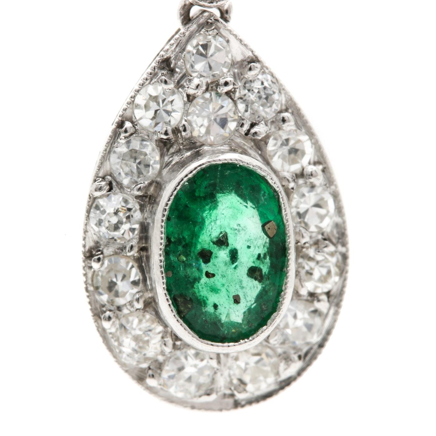 Platinum and 14K White Gold Emerald and Diamond Pendant | EBTH