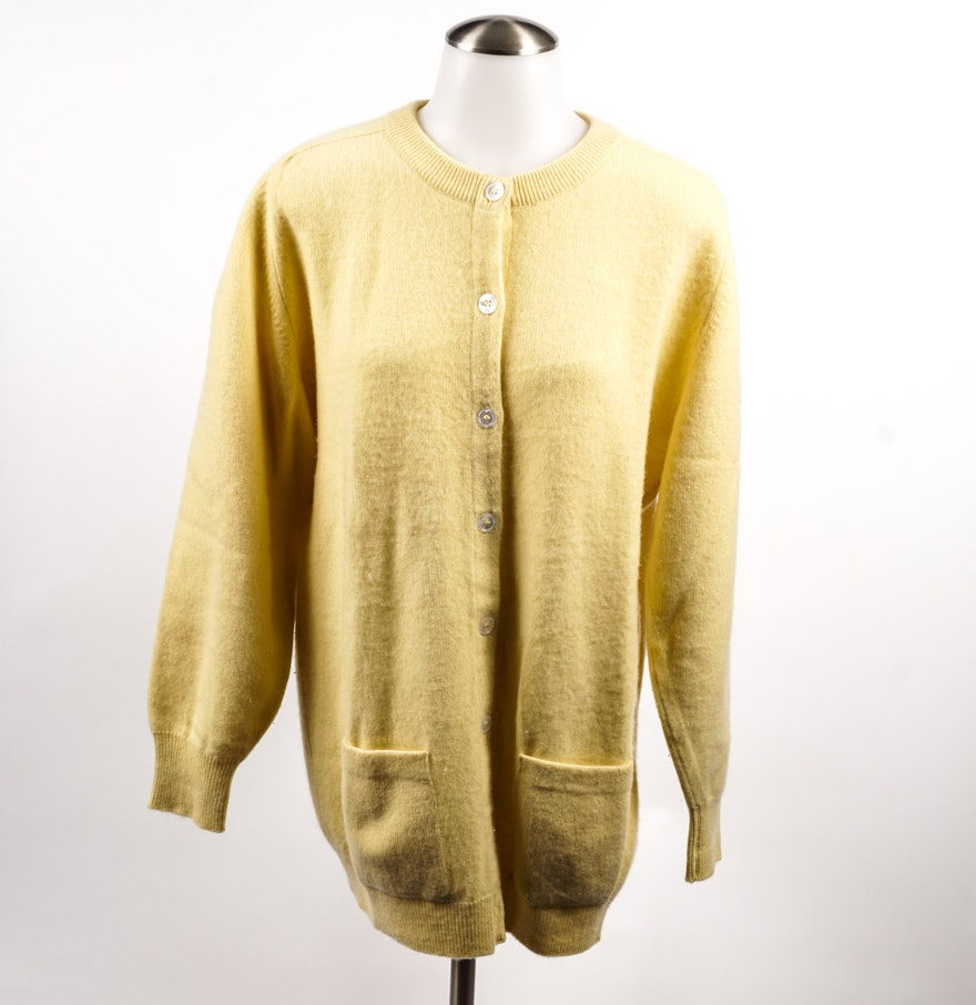 Vintage Pale Yellow Cashmere Cardigan : EBTH